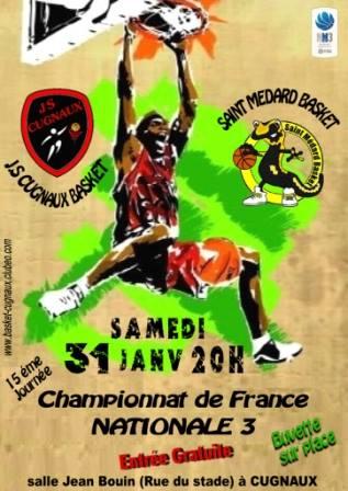 Cugnaux reçoit Saint-Médard, 20 h Gymnase Jean Bouin ce samedi !